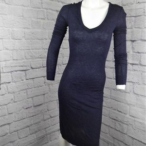 JAMES PERSE SUEDED JERSEY SIDE PANEL DRESS BODYCON